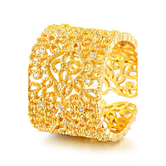cheap Rings-Women's Band Ring AAA Cubic Zirconia Gold Gold Zircon Round Luxury Vintage Elegant Wedding Anniversary Party Evening Engagement Daily