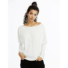 Kadın İnce Pamuklu Suni İpek Uzun Kollu Kayık Yaka Sonbahar Kış Solid Sade Günlük/Sade Kırmızı Beyaz Siyah Gri-Kadın Tişört
