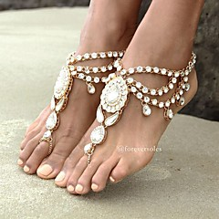 cheap Body Jewelry-Barefoot Sandals - Women's Gold Silver Bohemian Fashion Flower Rhinestone Alloy Anklet For Daily Casual