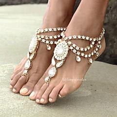tanie Piercing-Sandały Barefoot - Damskie Gold Silver Łańcuszek na kostkę Na Codzienny Casual
