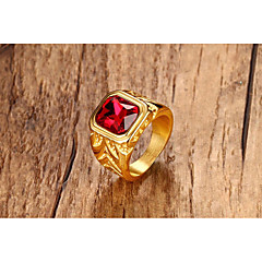 cheap Rings-Men's Women's Synthetic Ruby Ring - Square Princess Classic Vintage Statement Punk Gold Ring For Halloween Party / Evening Daily Ceremony