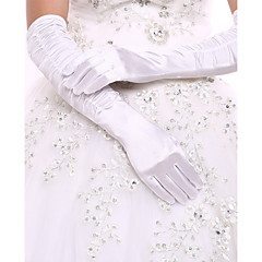 cheap Party Gloves-Spandex Fabric Elastic Satin Opera Length Glove Bridal Gloves Party/ Evening Gloves With Ruffles