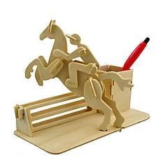 olcso -3D építőjátékok Fejtörő Wood Model Modeli i makete Ló 3D tettetés DIY Fa Klasszikus Gyermek Uniszex Ajándék