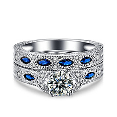 cheap Rings-Women's Ring AAA Cubic Zirconia Vintage Double-layer Elegant Platinum Cubic Zirconia Round Jewelry Wedding Anniversary Party Evening
