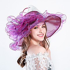 cheap Party Hats-Feather Silk Organza Fascinators Hats Headwear with Floral 1pc Wedding Special Occasion Party / Evening Casual Outdoor Headpiece