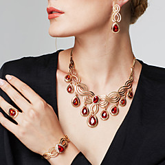 Women's Jewelry Set Bracelet Ring Fashion Statement Jewelry Luxury Costume Jewelry Rhinestone 18K gold Drop Earrings Necklace Bracelet