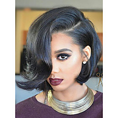 cheap Wigs & Hair Pieces-Human Hair Full Lace Wig Brazilian Hair Wavy Short Bob Bob Haircut With Bangs With Baby Hair Glueless Natural Hairline Short Medium 130%