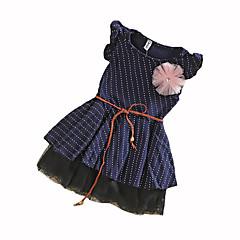 baratos Roupas de Meninas-Menina de Vestido Poá Verão Algodão Sem Manga Pontos Azul Marinha