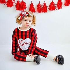 billige Babytøj-Baby Pige Ternet Jul Plæd / Tern Langærmet Bomuld Overall og jumpsuit Rød
