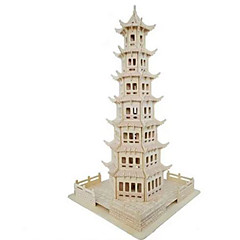 cheap -3D Puzzle Jigsaw Puzzle Wood Model Model Building Kit Tower Famous buildings House Simulation Wood Natural Wood Kid's Unisex Gift