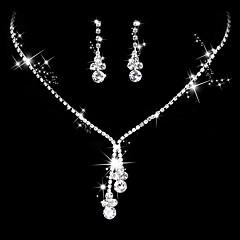 Dame Dråbeøreringe Kort halskæde Brude Smykke sæt Kvadratisk Zirconium minimalistisk stil Elegant Kvadratisk Zirconium Dråbe TilBryllup