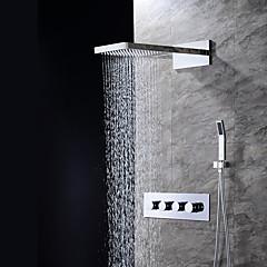 """Kortárs Fali Vízesés Zuhany """"eső""""szórófej Kézi zuhanyzót tartalmaz with  Kerámiaszelep Három furat Négy fogantyú három lyuk for  Króm ,"""