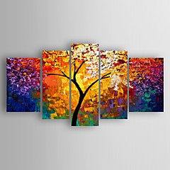 billiga Oljemålningar-Hang målad oljemålning HANDMÅLAD - Abstrakt Abstrakt Inkludera innerram / Fem paneler / Sträckt kanfas
