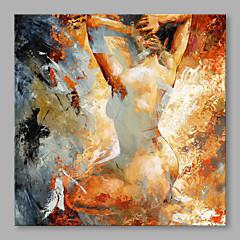 billiga Oljemålningar-Hang målad oljemålning HANDMÅLAD - Människor Klassisk Inkludera innerram / Sträckt kanfas