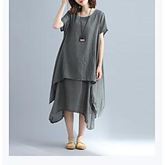 Damen A-Linie Lose Hülle Kleid-Ausgehen Lässig/Alltäglich Retro Einfach Street Schick Solide Rundhalsausschnitt Maxi Kurzarm Baumwolle