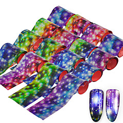 16pcs Starry Sky Shimmer Nail Foils Colorful Rain Flower Nail Art Transfer Sticker Decals DIY Beauty Decoration Nail Tools 20*4cm