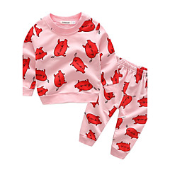 billige Sett med babyklær-Baby Børne Tøjsæt Bomuld Afslappet/Hverdag I-byen-tøj Ferie Dyretryk Tegneserie, 100 % bomuld Forår Efterår Langærmet Tegneserie Lyserød