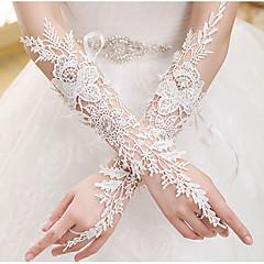 До локтя С открытыми пальцами Перчатка Кружева Свадебные перчатки Все сезоны Стразы