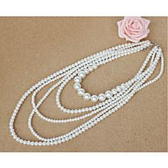 Mulheres colares em camadas Imitação de Pérola Imitação de Pérola Jóias Para Casamento Festa Ocasião Especial Aniversário