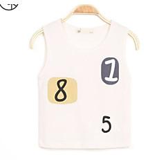 baratos Roupas de Meninos-Para Meninos Camiseta Sólido Verão Algodão Sem Manga Azul Branco