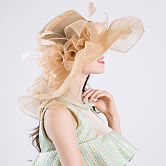 cheap Party Hats-Feather Silk Organza Fascinators Hats 1 Wedding Special Occasion Party / Evening Casual Outdoor Headpiece