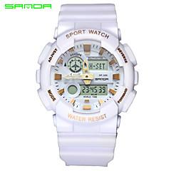 Недорогие Мужские часы-SANDA Муж. Спортивные часы Наручные часы Японский Кварцевый Цифровой 30 m Защита от влаги Будильник С двумя часовыми поясами Pезина Группа Аналого-цифровые Кулоны Черный / Белый -  / Два года