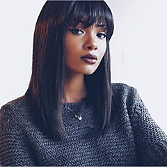 cheap Wigs & Hair Pieces-Virgin Human Hair Remy Human Hair Glueless Lace Front Lace Front Wig Brazilian Hair Yaki Straight Wig Bob Short Bob Straight bangs 130% 150% Density with Baby Hair Natural Hairline African American