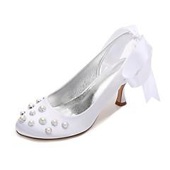 cheap Wedding Shoes-Women's Shoes Satin Spring / Summer Comfort / Basic Pump Wedding Shoes Kitten Heel / Low Heel / Stiletto Heel Round Toe Pearl / Imitation