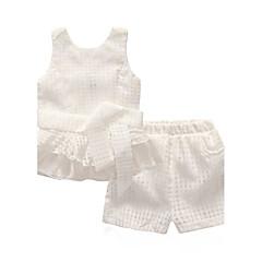 billige Tøjsæt til piger-Ternet Sport / I-byen-tøj Ruder Uden ærmer Bomuld Tøjsæt
