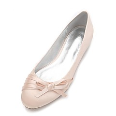 Kadın Ayakkabı Saten Bahar Yaz Rahat Balerin Düğün Ayakkabıları Düz Taban Yuvarlak Uçlu Düğün Elbise Parti ve Gece için Fiyonk Saten