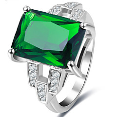 Ring Settings Band Rings Women's Euramerican Luxury Elegant Square Style Business Green Wedding Party Movie Gift Jewelry