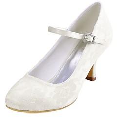 Damen Hochzeit Schuhe Pumps Stretch - Satin Frühling Herbst Hochzeit Party & Festivität Kristall Stöckelabsatz Weiß Elfenbein 5 - 7 cm