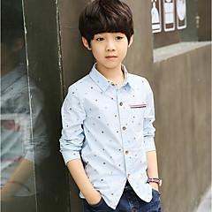 billige Overdele til drenge-Børn Drenge Punkt Prikker Langærmet Bomuld Skjorte