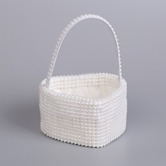 "cheap Flower Baskets-Flower Basket Rattan 9"" (23 cm) Pearl 1"