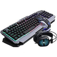 Ruyiniao Keyboard Maus Headset Hintergrundbeleuchtung Gaming Anzug 104keys Einstellung dpi haben mic usb prots