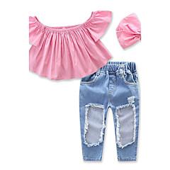 billige Tøjsæt til piger-Baby Pige Pænt tøj Ensfarvet Kortærmet Kort Kort Bomuld Tøjsæt