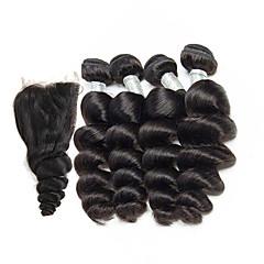 お買い得  ヘアエクステンション-ブラジリアンヘア ルーズウェーブ 人間の髪編む 閉鎖した4バンドル 8-26インチ 人間の髪織り ブラック