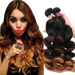 voordelige Weaves van echt haar-Braziliaans haar Los golvend Onbehandeld haar Ombre 3 bundels 12-24 inch(es) Menselijk haar weeft Zwart / Medium Brown / Strawberry Blonde Extensions van echt haar