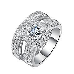 Kadın's Evlilik Yüzükleri Kübik Zirconia lüks mücevher Zarif Som Gümüş Platin Kaplama Zirkon Round Shape Mücevher UyumlulukDüğün Nişan