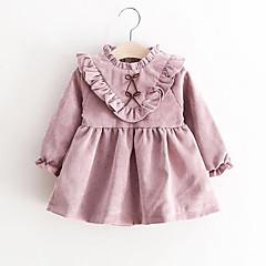 billige Babytøj-Baby Pige Folder / Rosette Ensfarvet Langærmet Bomuld Kjole