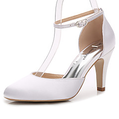 cheap Wedding Shoes-Women's Shoes Silk Summer Fall Basic Pump Heels Cone Heel Round Toe Buckle for Wedding Dress Party & Evening White Light Pink Royal Blue
