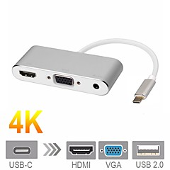 Cwxuan USB 3.1 Typ C Adapterkabel, USB 3.1 Typ C to HDMI 2.0 VGA 3,5 mm Audio Jack USB 2.0 Adapterkabel Male - Female 4K*2K 0,15m (0.5Ft)