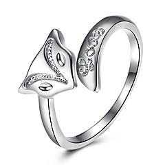 billige Motering-Dame Krystall Kubisk Zirkonium Ring - Sølvplett, Legering Rev Enkel, Søt, Hip-hop Justerbar Sølv Til Bryllup Fest