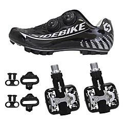 billige Sykkelsko-SIDEBIKE Mountain Bike-sko / Sykkelsko med pedal Karbonfiber Anti-Skli, Anvendelig, Pusteevne Sykling Svart / Sølv Herre / Syntetisk Mikrofiber PU