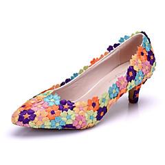 preiswerte -Damen Schuhe PU Frühling Herbst Komfort Neuheit Hochzeit Schuhe Niedriger Absatz Spitze Zehe Applikation Blume Für Hochzeit Party &