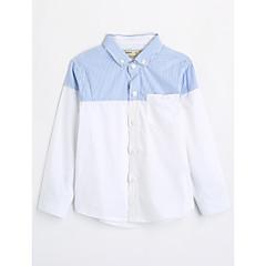 baratos Roupas de Meninos-Infantil Para Meninos Estampa Colorida Manga Longa Algodão Camisa Branco 110