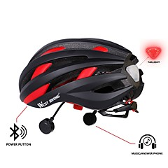 West biking Bike Helmet CE Certification Cycling 16 Vents Bluetooth Multi-function Lights LED Durable Men's Women's EPS PC Cycling Bike