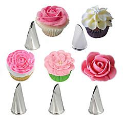 billige Bakeredskap-5 stk rosenbladet rustfritt stål kremtips kakeisolering rørdyser cupcake kringle dekorasjonsverktøy