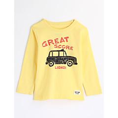 baratos Roupas de Meninos-Para Meninos Blusa Desenho Animado Outono Algodão Manga Longa Desenho Amarelo