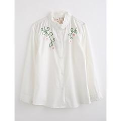 baratos Roupas de Meninas-Para Meninas Camisa Sólido Bordado Outono Algodão Manga Longa Com Babado Branco Rosa